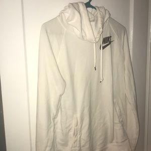 Nike rally white funnel neck hoodie